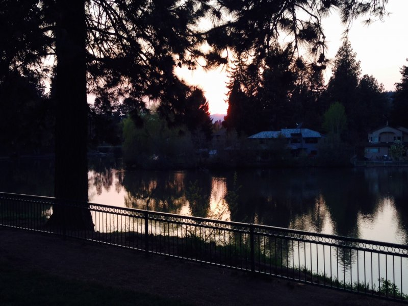Mirror Pond in downtown Bend at sunset