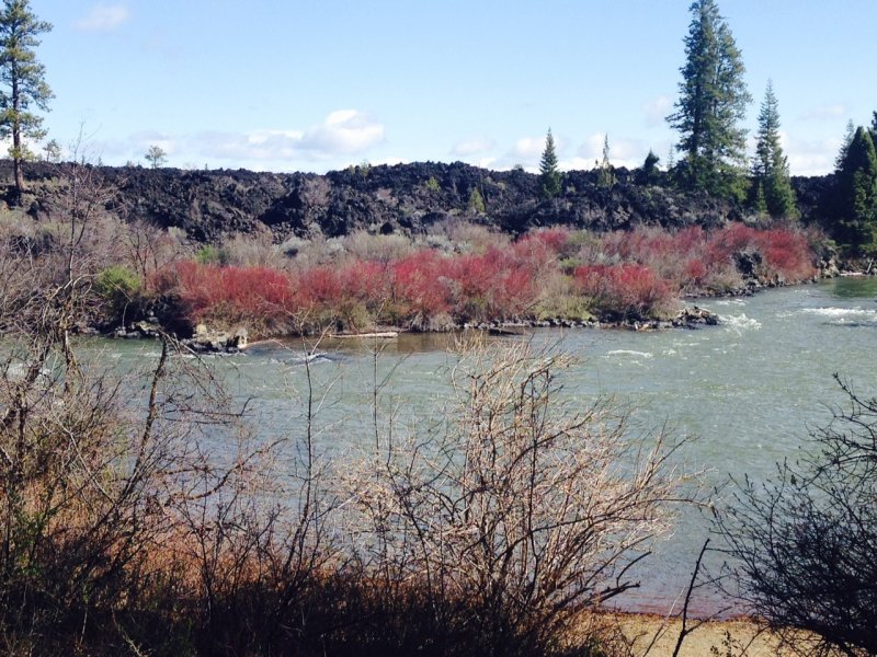On the Deschutes River with lava flow across