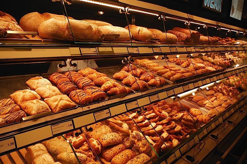 Gorging on bakery items