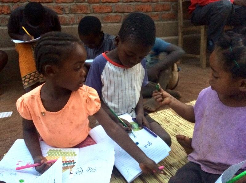 Drawing with the kids in Katangalika