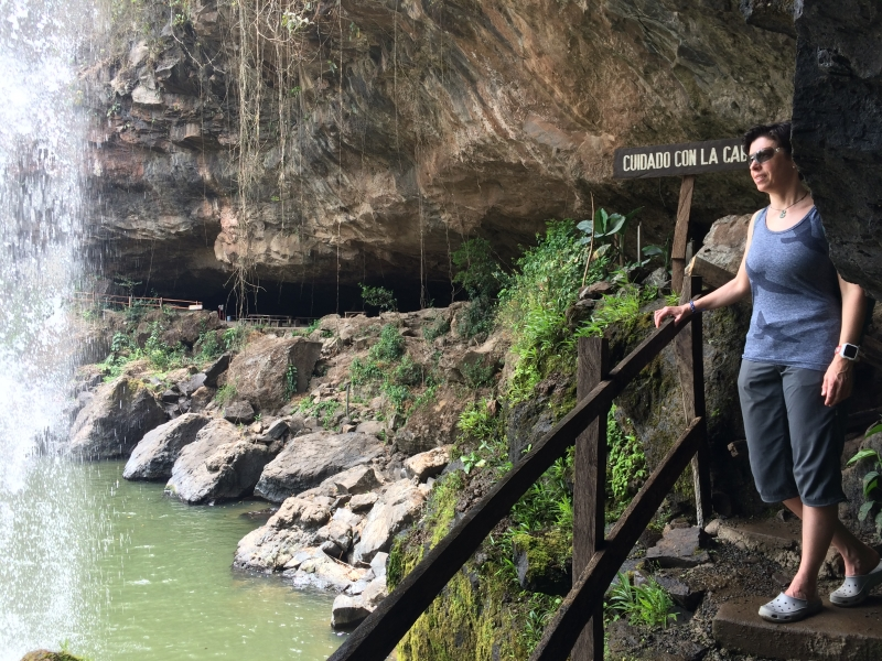Behind the waterfall at Cascada Blanca