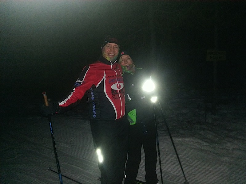 Pat and Corrine night skiing