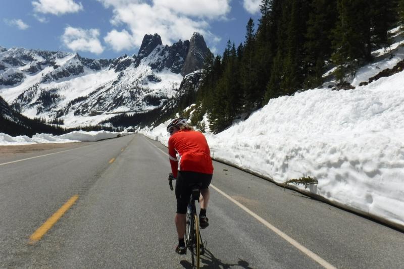 Cycling up Washington Pass May 2017