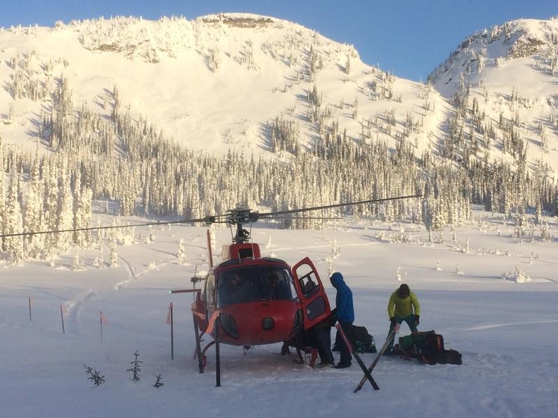 Heli landing Sol Mountain Lodge Dec 2016