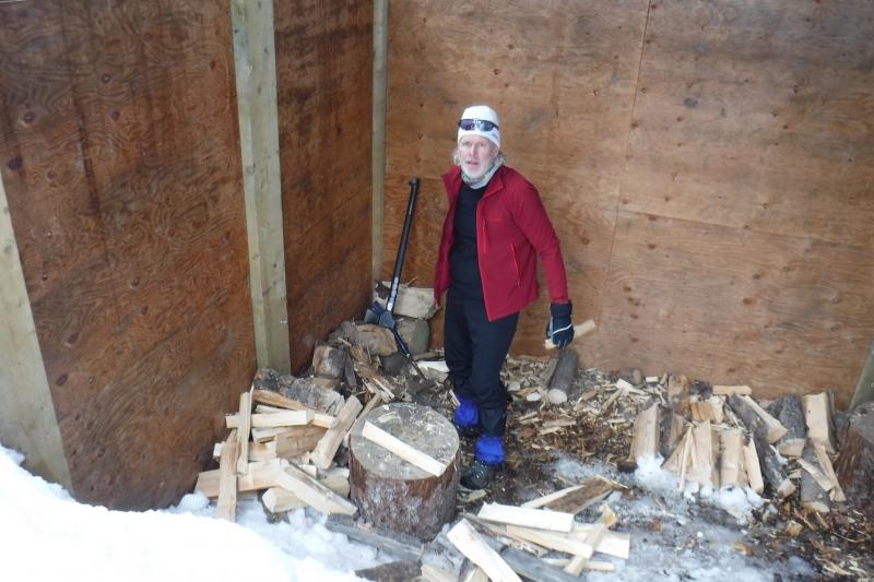 Wood splitting at Wheeler Hut