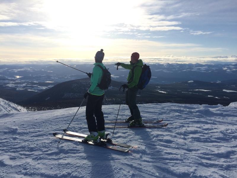 Uphill skiing at Big White