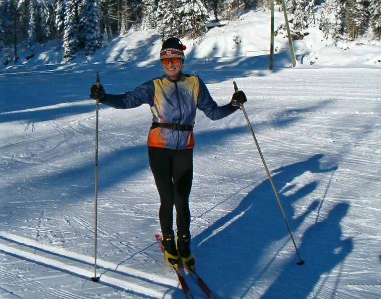 Joyce skiing