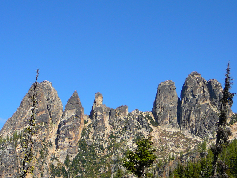 View of the spires from Blue Lake