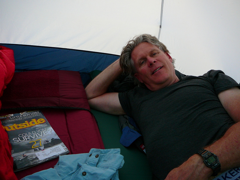 Settling into the tent ...