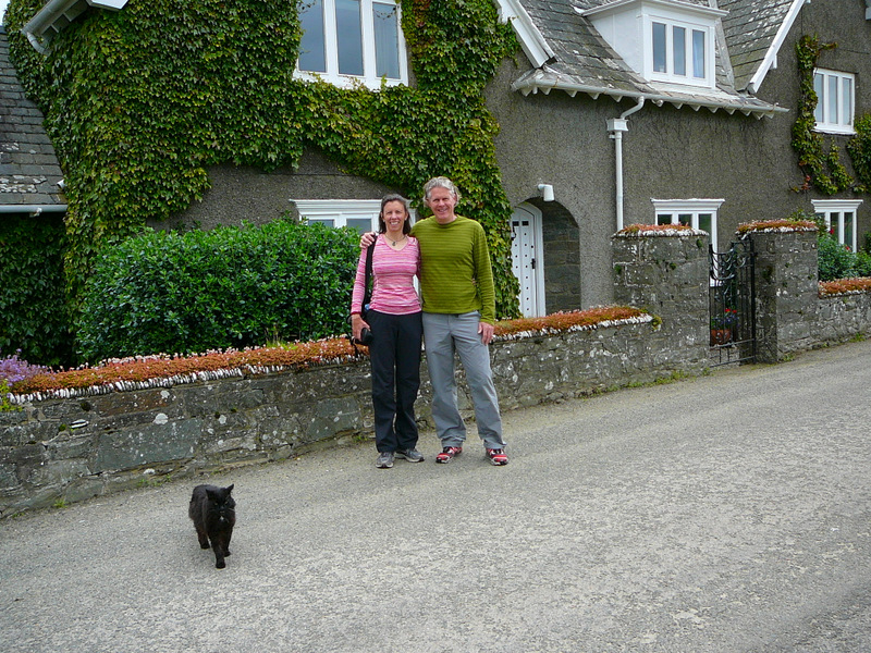 Biggi and Graham in front of Elizabeth's house - and cat