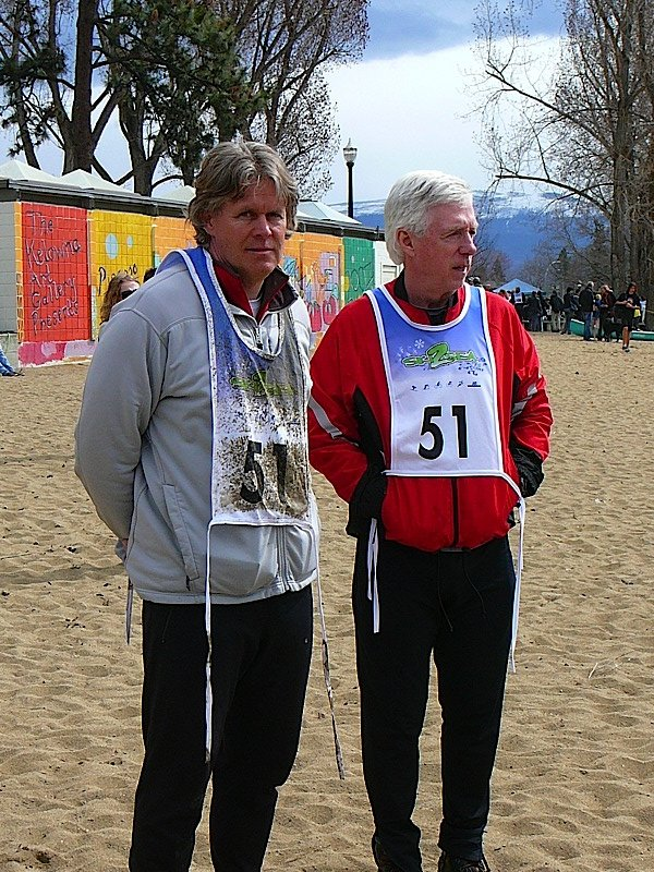 Just before the finish on the beach