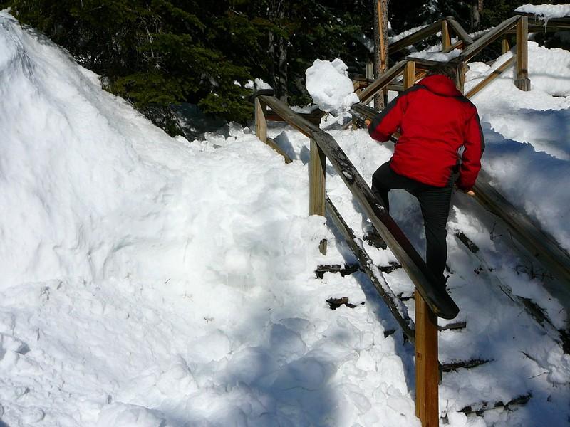 Shoveling snow at Mt. Baldy